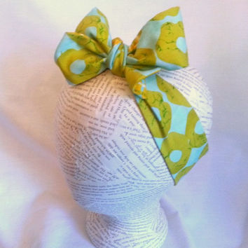 Head Wrap Headwrap - Reversible Head Wrap - Baby Head Wrap - Knot Tie Headband - Big Bow Head Wrap - Turban Wrap - Mint Gold Green