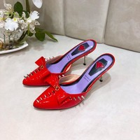 Gucci Trending Women leather Leisure Snake Bee Flower Embroidery Flats high heels slipper sandals shoe red