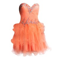 VILAVI Womens Princess Strapless Tulle Crystal Side-draped Homecoming Dresses