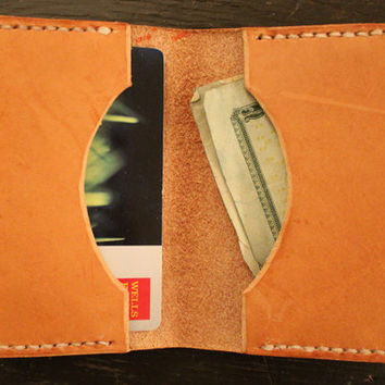Handcrafted Bi-Fold Curved Hand Stitched Vegetable Tanned Leather Card Wallet
