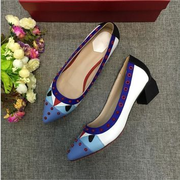 Small Monster Multicolor Pointed Shoe Head Rivet Heels Shoes Rough Heel Single Shoes