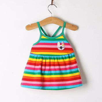 Baby Girls Cute Princess Dress Clothes Sleeveless Cool Summer 2017 Infant Girl Rainbow Striped Cartoon Kids Suspender Dresses