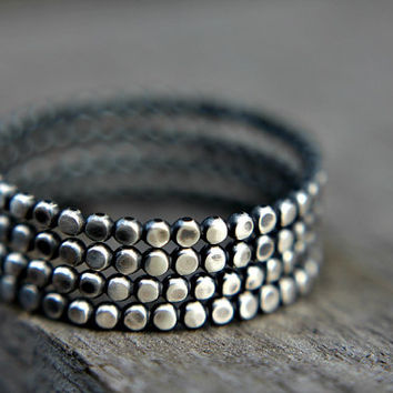 Sterling silver stacking rings - set of four - stackable rings - dotted rings - beaded band - simple band - minimalist - thumb ring