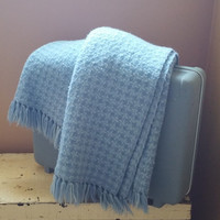 Pastel Blue Houndstooth Wool Throw Fringed Blanket