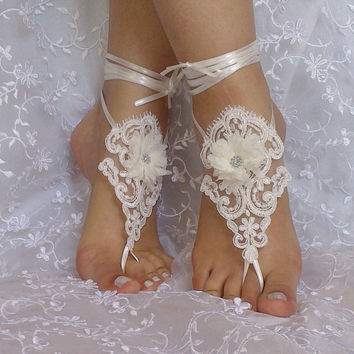 Beach wedding barefoot sandals , french lace, Nude shoes, Foot jewelry, Wedding, Victorian Lace, Sexy, Yoga, Anklet , Belly Dance