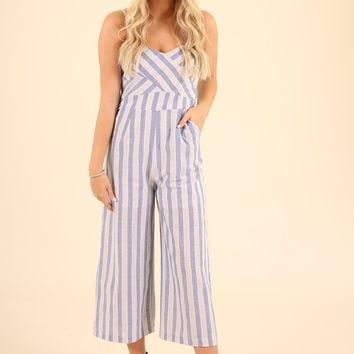 SWOON AND SWAY JUMPSUIT- BLUE STRIPE