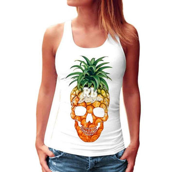 Style Pineapple Print Tank Top Casual Woman Sleeveless Print Crop Tank Top Female Ladies Tops  #03 SM6