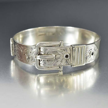 Sterling Silver Buckle Bracelet Victorian Revival Cuff