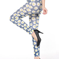 Multicolor Daisy Print High Waist Stretchy Leggings