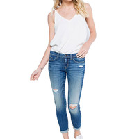 Sneak peak Medium Denim Low Rise Skinny Cuffed Hem Sexy Boyfriend Jeans