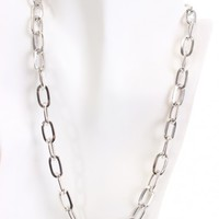 Silver High Polished Metal Chain Link Necklace