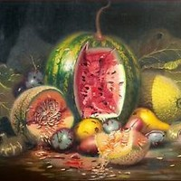 """ITALIAN PAINTING """"FRUITS COMPOSITION"""" OLD VINTAGE PAINTING PAINTER MARIO UGHI"""