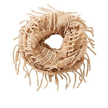 Open Knit Fringe Trim Infinity Scarf | Charlotte Russe