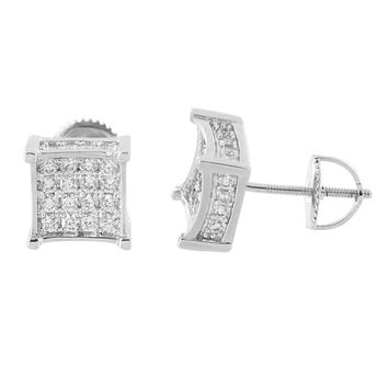 Iced Out Earrings 14K White Gold FinishScrew Back