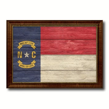 North Carolina State Flag Texture Canvas Print with Brown Picture Frame Gifts Home Decor Wall Art Collectible Decoration