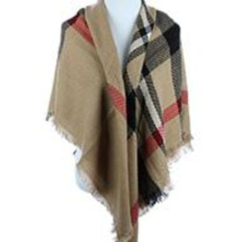 PATTERNED SOFT YARN SCARF  Poncho Wrap Light Camel Plaid One Size