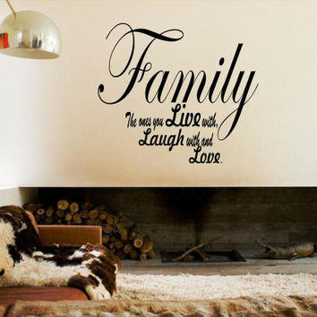 Family Live Laugh Love with vinyl wall decal, anniversary wedding Valentines day gift ideas, family living room decor, DYI project ideas