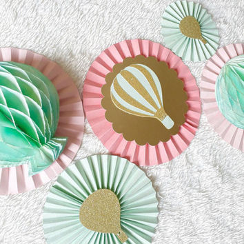 Paper Rosettes - Paper Fans - Paper Pinwheels - Hot Air Balloon Decoration - Pinwheel Backdrop - Nursery Decoration - Birthday Decoration