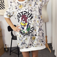 Cartoon Floral Print Short Sleeve Loose Fitting Shirt Dress
