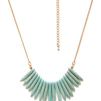 Faux Stone Fringe Necklace
