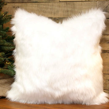faux fur pillow cover winter white throw pillow chenille accent pillow decorative pillow 10 - White Decorative Pillows