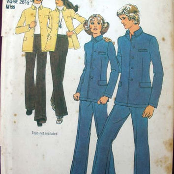 Retro 1970's Jacket and Pants Suit Pattern Misses Size 12 Simplicity 5285 Sewing Pattern Uncut