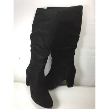 H by Halston Tall Shaft Black Suede Boots with Heel