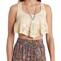 Racerback Lace Crop Top by Charlotte Russe - Ivory