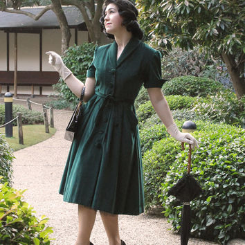 Vintage Dress Coat 1950's 50's cotton velvet / Lucille / Authentic vintage reproduction / Green 50s coat dress / XS S M L XL / Made to order
