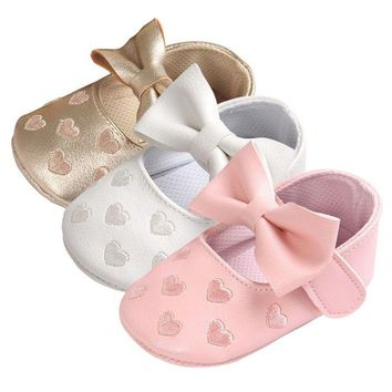 Baby Girl  Heart Leather Bow knott Flat