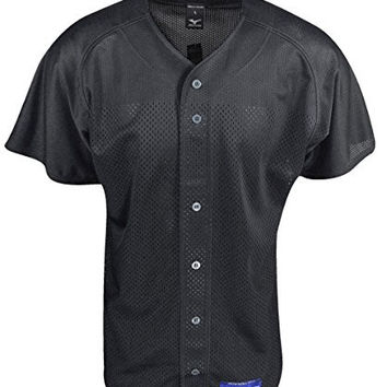 Mizuno Men's Full Button Mesh Short Sleeve Baseball Jersey, Black, Medium