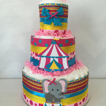 Circus Theme Diaper Cake for Girls, Circus Baby Shower Centerpiece, Circus Baby Shower Decoration for Girls