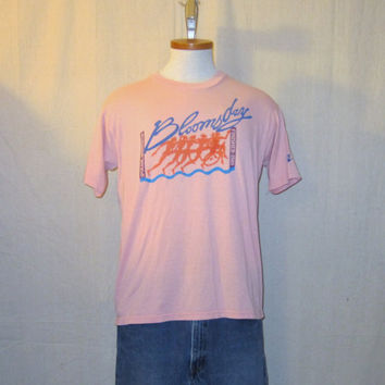 Vintage 1989 NIKE BLOOMSDAY Run GRAPHIC Thin Soft Rare Medium Peach Jerzees 50/50 T-Shirt