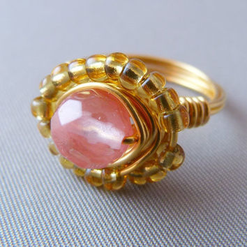 You Oughta Be In Pictures, Wire Wrapped Ring - Watermelon Tourmaline
