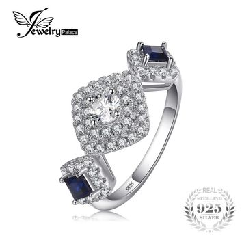 JewelryPalace 1.2ct Created Blue Sapphire & CZ 3 Stones Square Engagement Rings For Women 925 Sterling Silver Brand Fine Jewelry