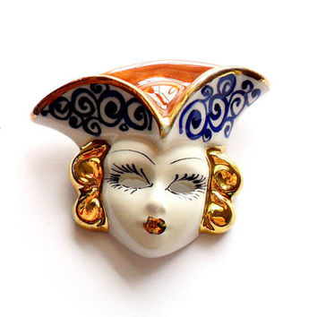 Vintage Venetian Mask Brooch Painted Porcelain Ceramic Clown Crafted Broach Pin Blue Gold White