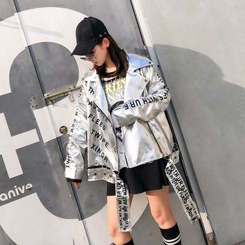 TREND-Setter 2018 Autumn Letter Silver PU Leather Jacket Women Hip Hop Style Metal Chain Stitching Loose Jacket Coat With Eyelet