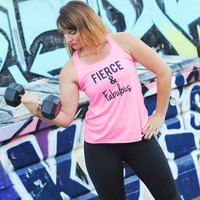 Fierce and Fabulous / Workout Tank / Running Tank / Gym Tank / Running Shirt