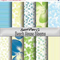 SALE Beach House Blooms Digital Paper Pack, Printable Instant Download, Beachy Colors, Flowers and Patterns, Ready for Paper Crafts, Backgro