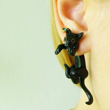 super new design fake gauge plug two part earrings black cat, Polymerclay, handmade