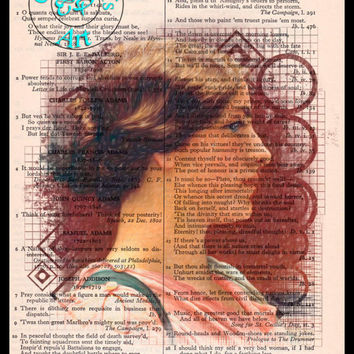 A Classic Beauty Pencil Drawing Beautifully Upcycled Vintage Dictionary Page Book Art Print