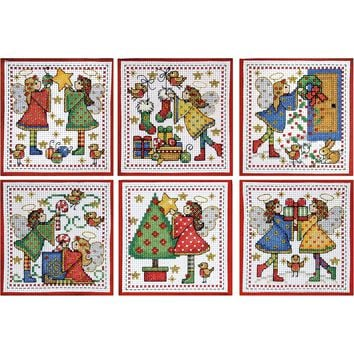 "Decorating Angels Ornaments Counted Cross Stitch Kit 4""X4"" 14 Count Set Of 6"