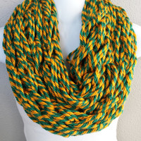 Green Bay Arm Knitted Infinity Scarf Womens Green and Gold Arm Knit Scarves Girls Winter Fashion Knitted Circle Scarf Arm Knitting Scarves
