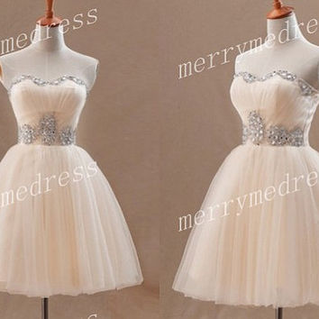2014 Beads Champagne Crystals Strapless Ball Gown Short Cocktail Dress,Knee Length Tulle Formal Evening Party Prom Dress Homecoming Dress
