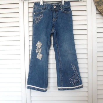 Size 4T Girls Refashioned Lace Blue Jeans upcycled redesigned hippie boho gypsy cowgirl glam style clothes clothing