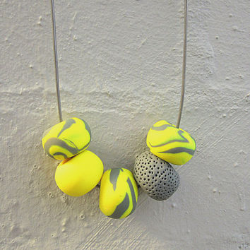 20%OFF: NL-181 Yellow and Grey Patchy Swirl Pattern and Textured Donut-shaped Clay Bead Necklace in Adjustable Light Grey Leather Cord