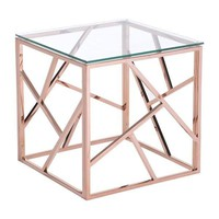 Cage Side Table Rose Gold Polished Stainless Steel