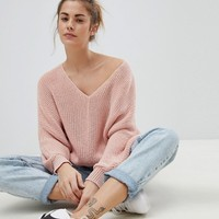 Pull&Bear V Neck Oversized Sweater at asos.com