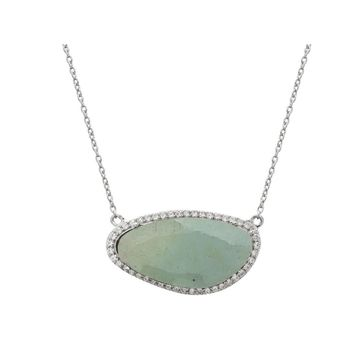 Fronay Co Large Aquamarine Stone Slice Necklace in Sterling Silver