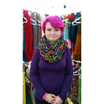 Chunky Scarf, Neon Scarf, Hippie Scarf, Infinity Scarf, Fall Fashion, Large Scarf, Psychedelic Scarf, Cozy Scarf, Statement Cowl